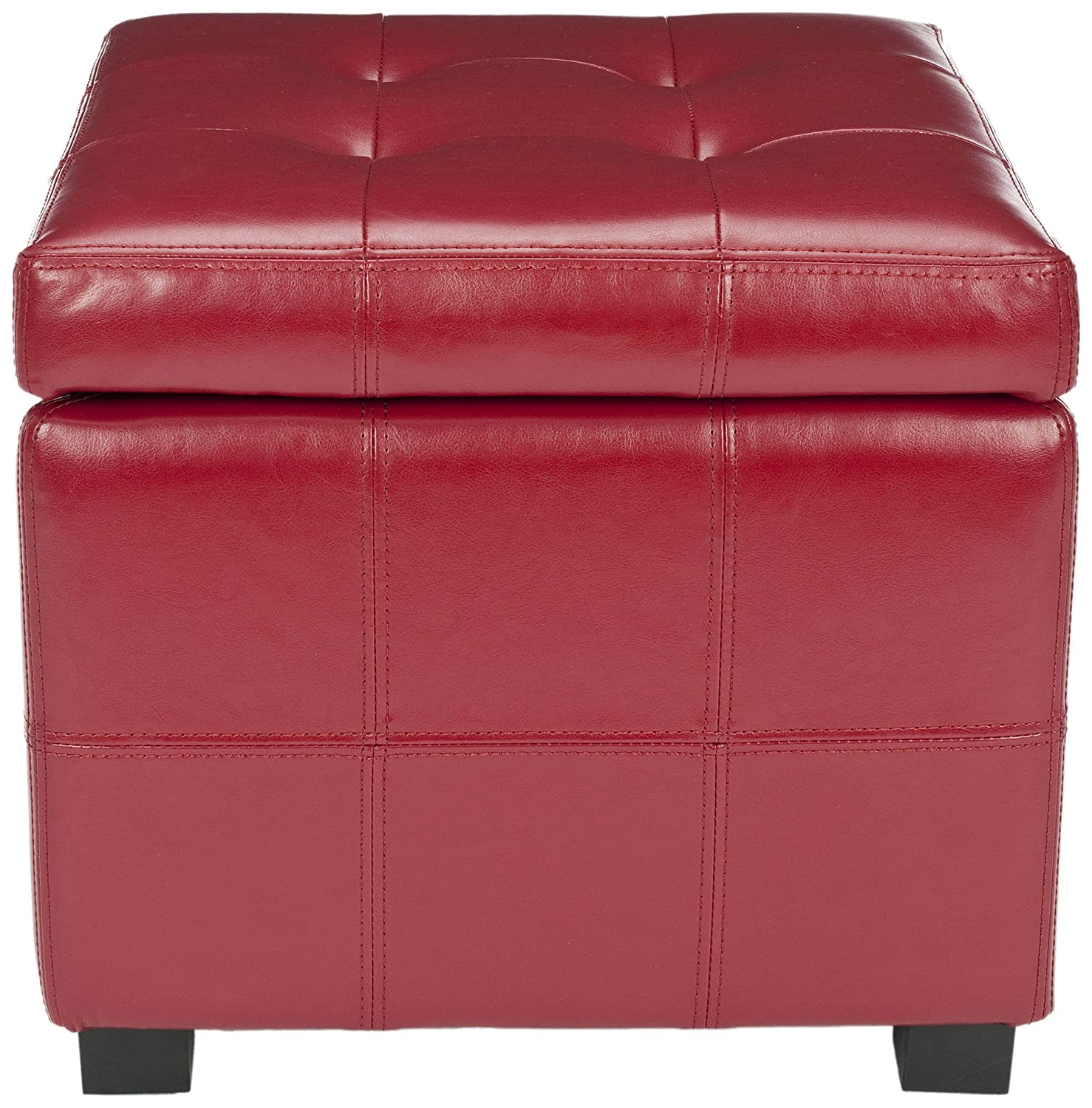 Amazon.com: Safavieh Hudson Collection NoHo Tufted Red Leather Square Storage  Ottoman: Kitchen U0026 Dining