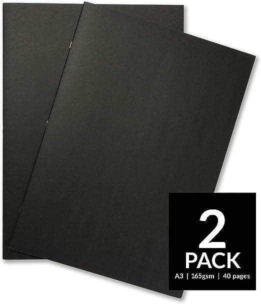 Cuaderno de dibujo de tapa suave para principiantes. Papel de dibujo blanco de 165 g/m², tamaño A3 y A4. Para técnicas mixtas Pack of 2 - A3, Black: Amazon.es: Hogar