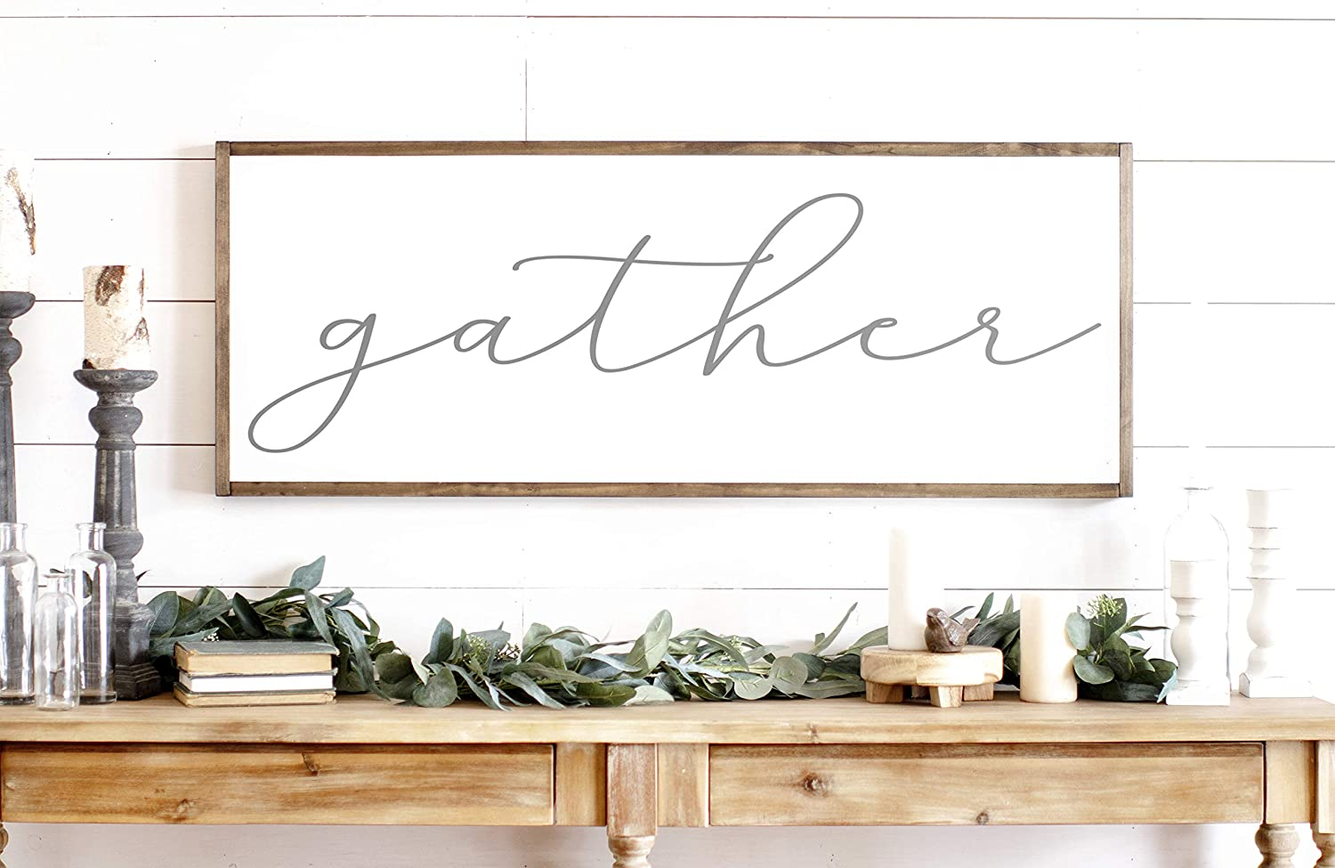 N/ A Gather Sign Gather Wood Sign Home Decor Sign Thanksgiving Signs Large Gather Sign Fall Wall Decor Thanksgiving Decor
