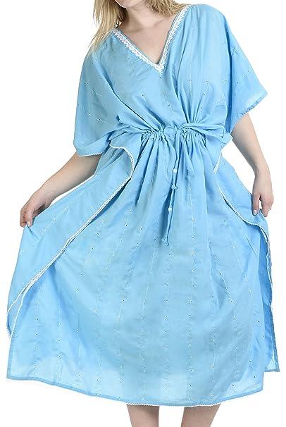 LA LEELA todo 1 damas rayón fiesta cóctel bordado túnica encubrir superiores batas traje de baño