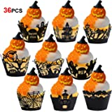Konsait Halloween Cupcake Wrappers,36pcs Cupcake Cases Laser Cut Witches Bat Spider Ghost Web Castle Pumpkin Tombstones…