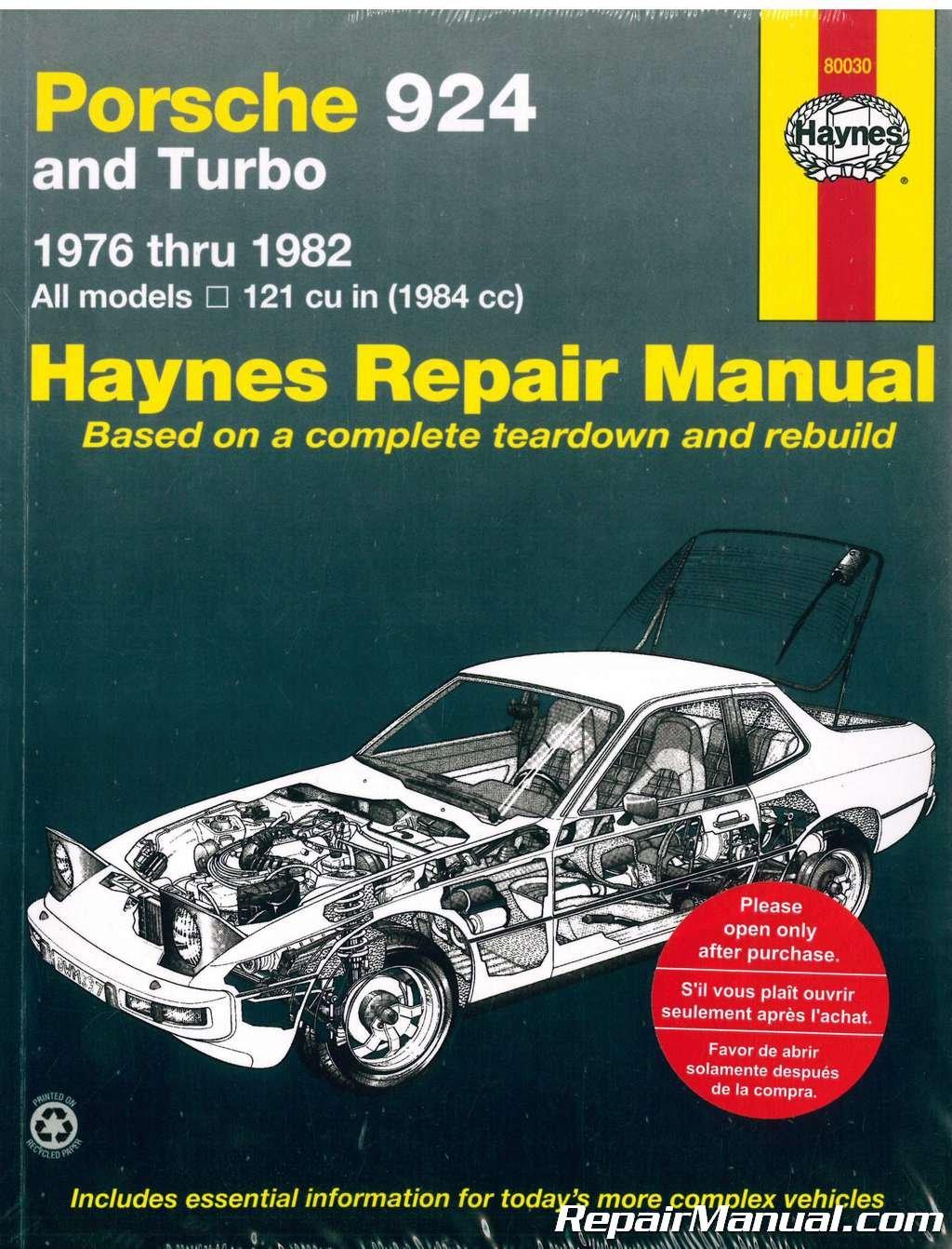 Read Online H80030 Haynes Porsche 924 1976-1982 Auto Repair Manual pdf