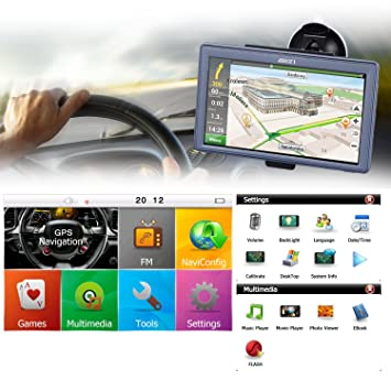 Navegador GPS para coches LESHP, con reproductor multimedia de7pulgadas, 8GB