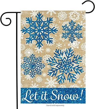 "Let It Snow Winter Applique Garden Flag Snowflakes Seasonal 12.5/"" x 18/"""