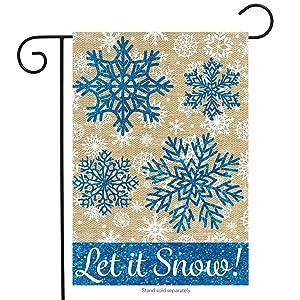 """Briarwood Lane Let It Snow Burlap Winter Garden Flag Snowflakes 12.5"""" x 18"""""""