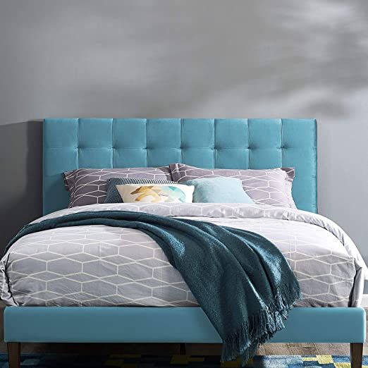 Amazon Com Modway Paisley Upholstered Biscuit Tufted Performance Velvet Full Queen Headboard Size In Sea Blue