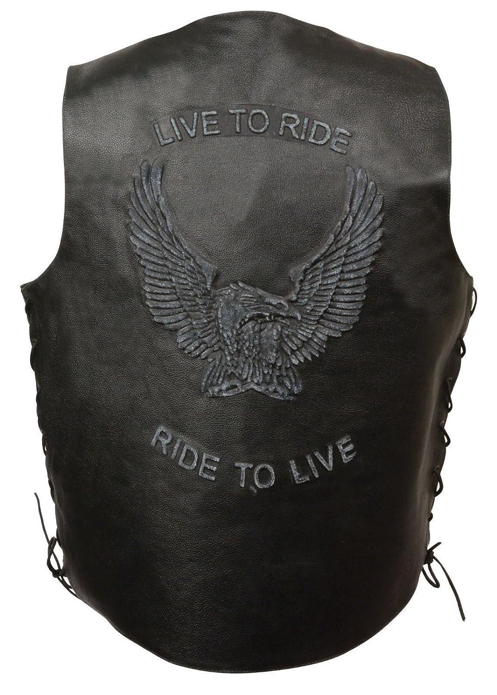 メンズMotorcycle RealレザーベストLive To Ride刺繍W / Side LacesブラックRegular ) 2XL mx1_252177223569_d001_d0_D   B075RCK9TR