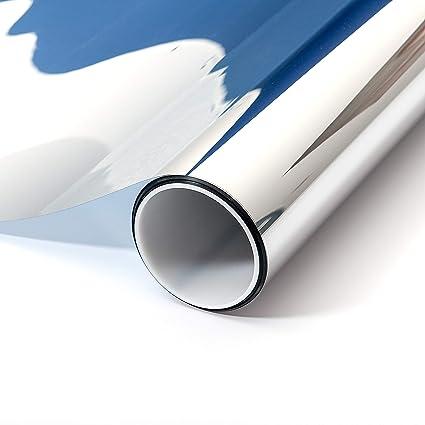 atFoliX Sonnenschutzfolie Aussen nach Maß - silberne Spiegelfolie FX Silver Fensterfolie - Länge und Breite auf Wunsch auswäh