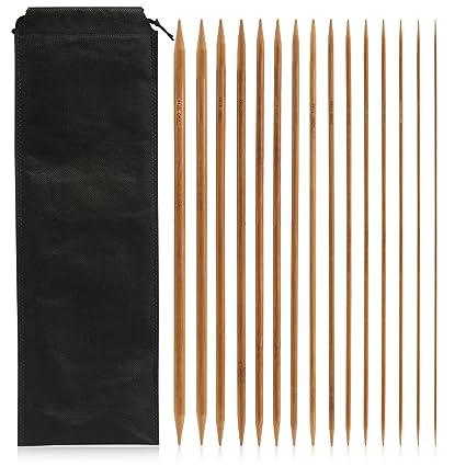 LIHAO 75 x Agujas de Bambú para Tejer Agujas de Punto Doble Afilados Tamaños 2mm -