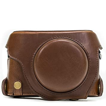MegaGear Ever Ready – Funda de Piel para cámara, Bolsa para Cámara Panasonic Lumix LX100, DMC-LX100 (Color marrón)