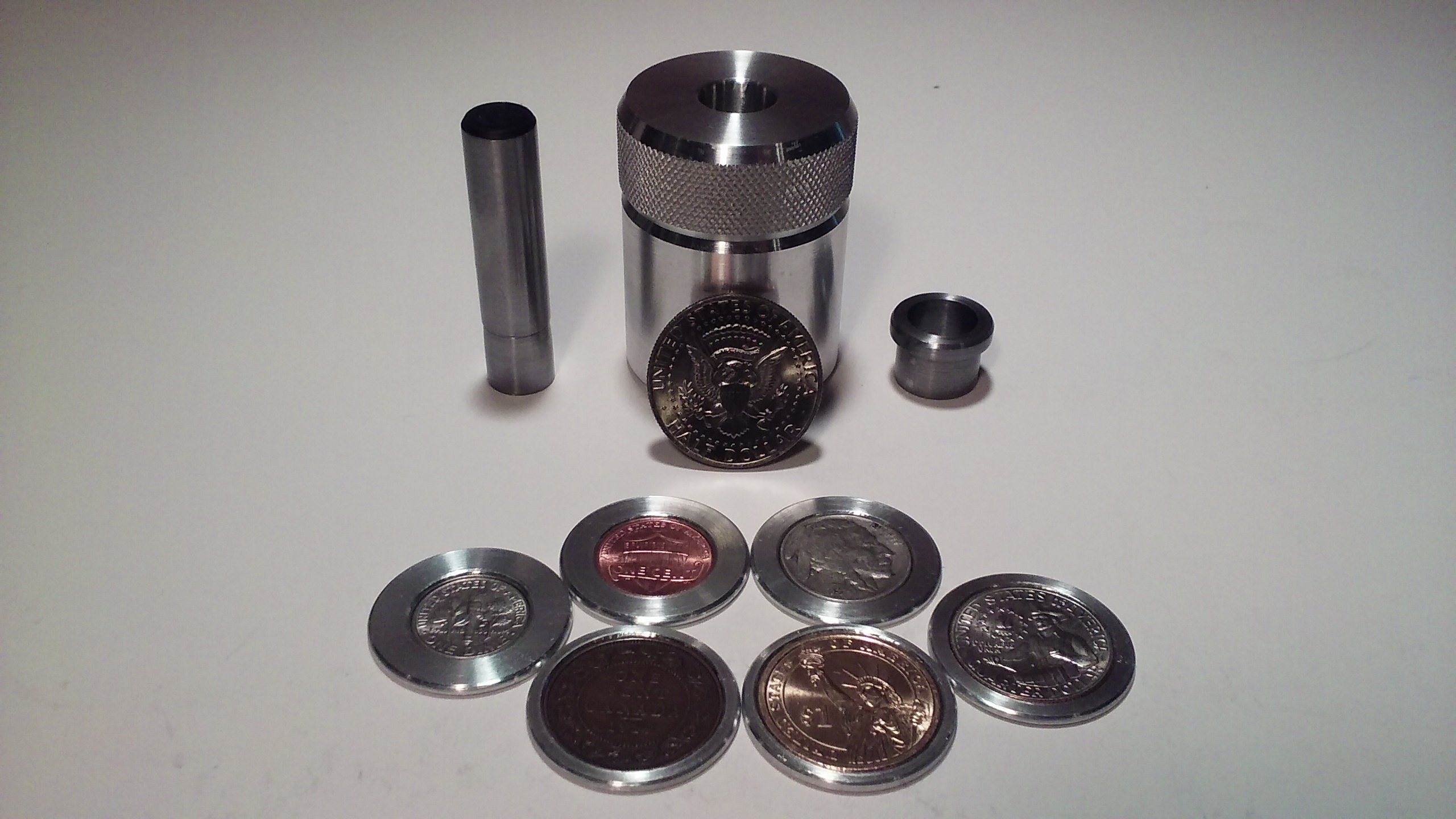 Coin Ring Center Punch for 50 Cent Piece. Comes with 1/2'' Punch and Die and 6 Spacers!!! by Austin Swenson