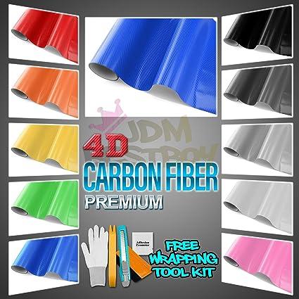 """*60/""""x120/"""" 4D Gloss Black Carbon Fiber Vinyl Wrap Sticker Bubble Free Air Release"""