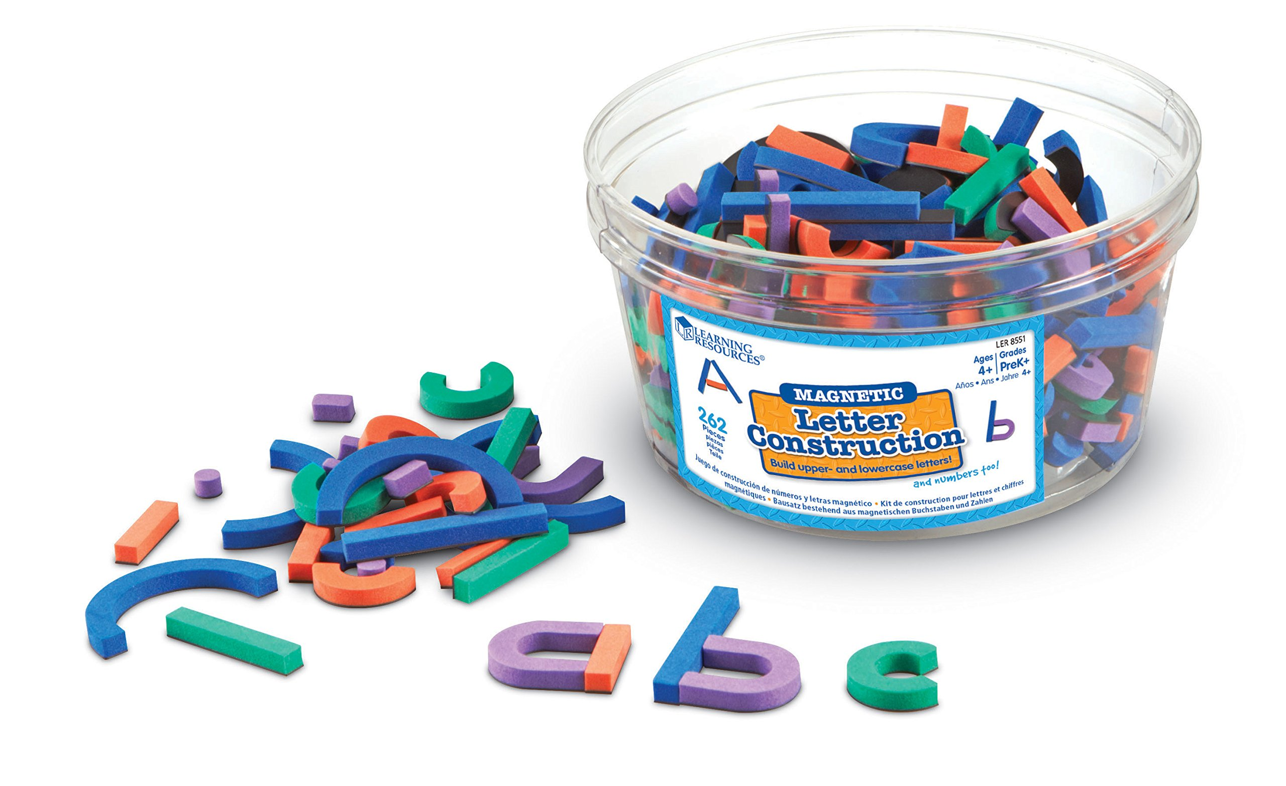 Learning Resources Magnetic Letter and Number Construction Set, Soft Foam Magnetic Shapes, Uppercase and Lowercase Letters, Teaching Aids, 262 Pieces, Grades Prek+, Ages 4+ by Learning Resources