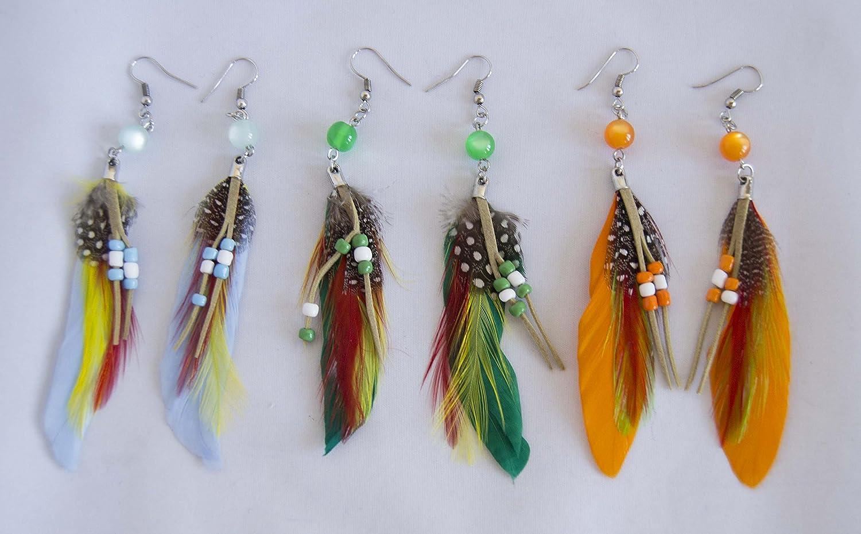 Pack de 3 pares de pendientes de plumas. Envío gratis 72H