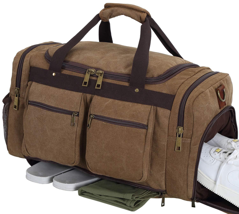 Weekender Overnight Duffel Bag Shoe Pocket for Women Men Weekend Travel Tote Carry On Bag (coffee-33)