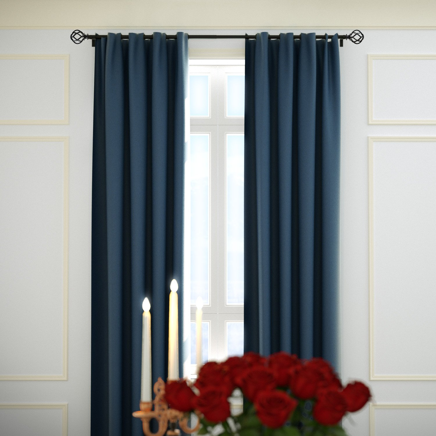 "KAMANINA 1"" Curtain Rod Single Window Rod 72-144"" with Twisting Cage Finials, Black, Drapery Rod of Window Treatment"