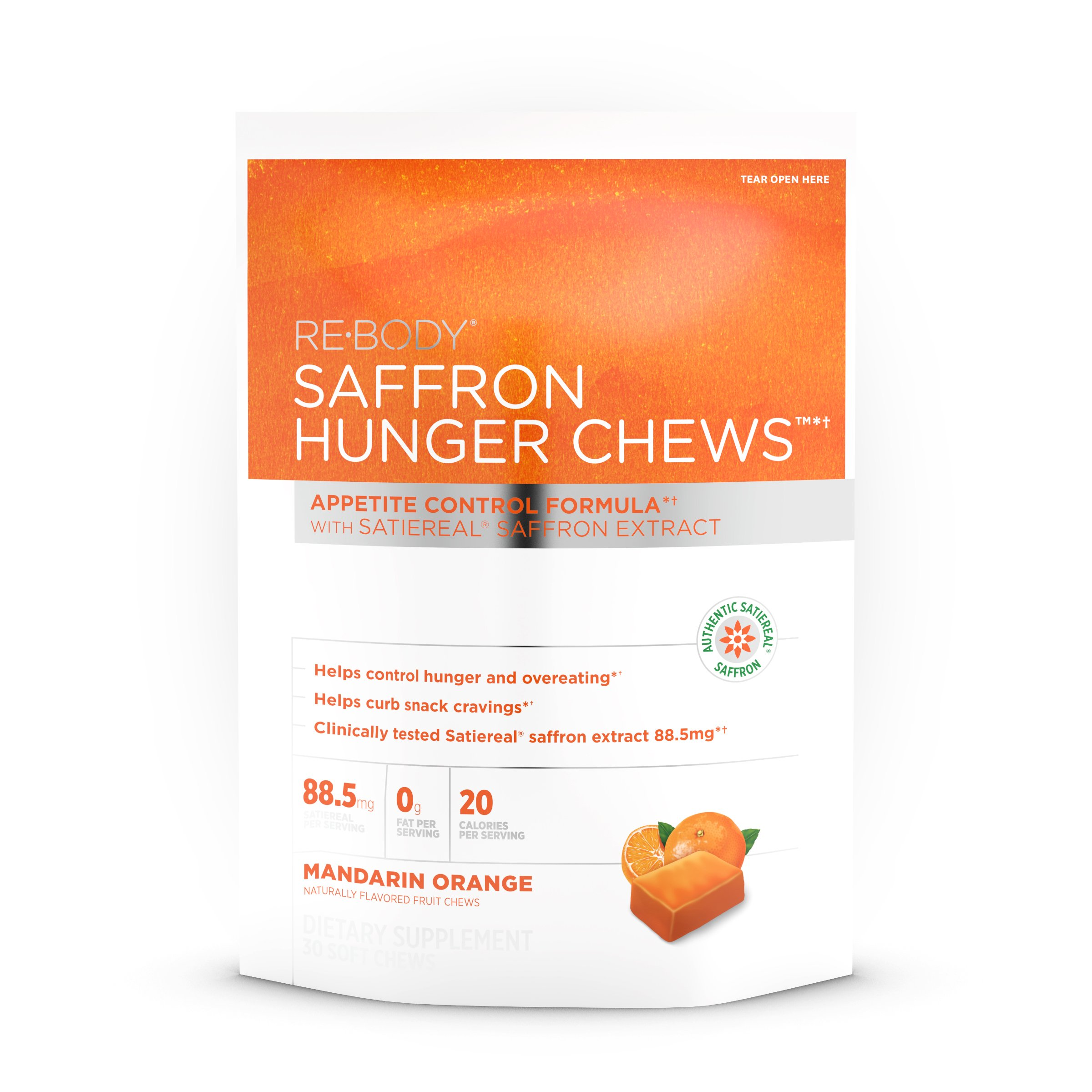 ReBody - Hunger Chews Mandarin Orange with Satiereal Saffron Extract - 30 Chew(s)