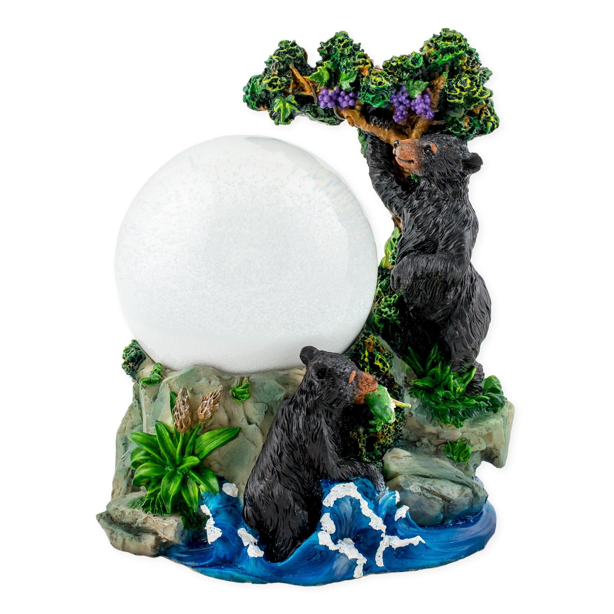 Playful Wild Black Bears 100mm Resin 3D Water Globe Plays Tune Born Free