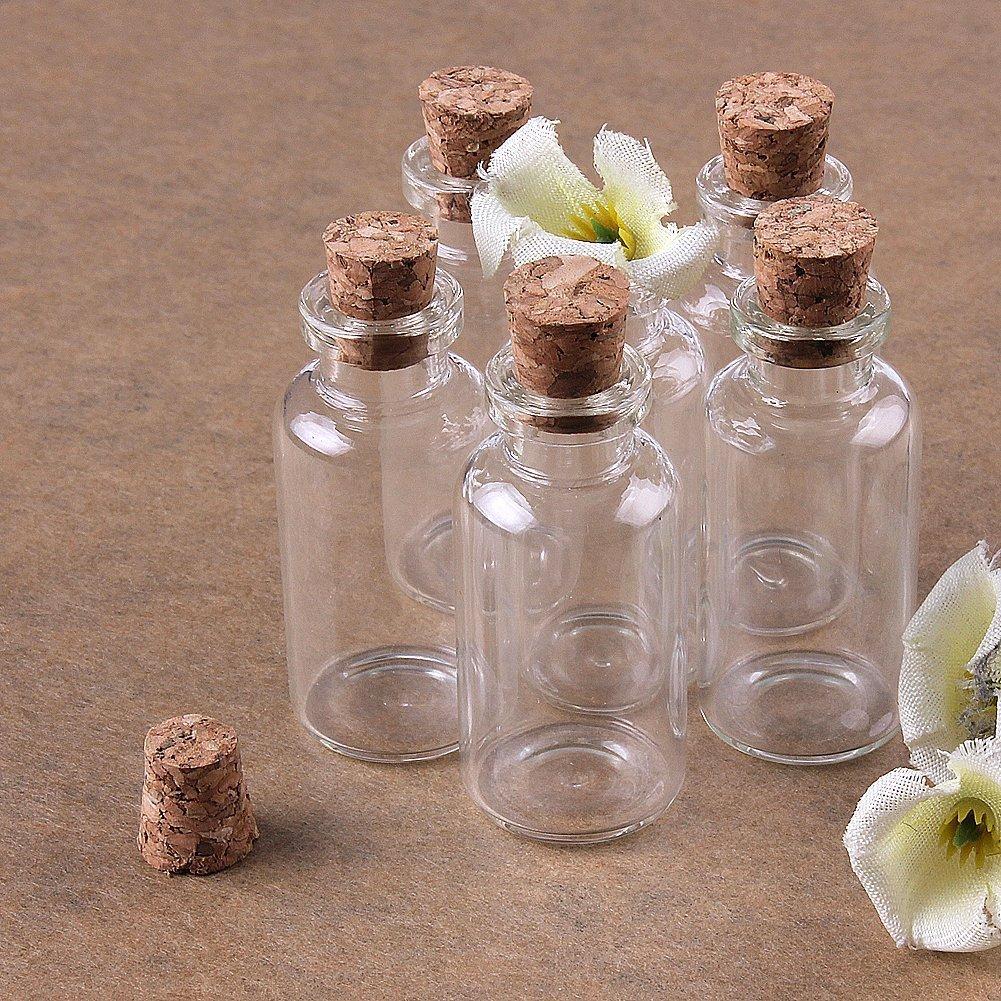 TININNA pequeño Mini tarros de Cristal Botellas frascos con Tapones de Corcho/Mensaje/Deseo de Fiesta de Bodas: Amazon.es: Hogar