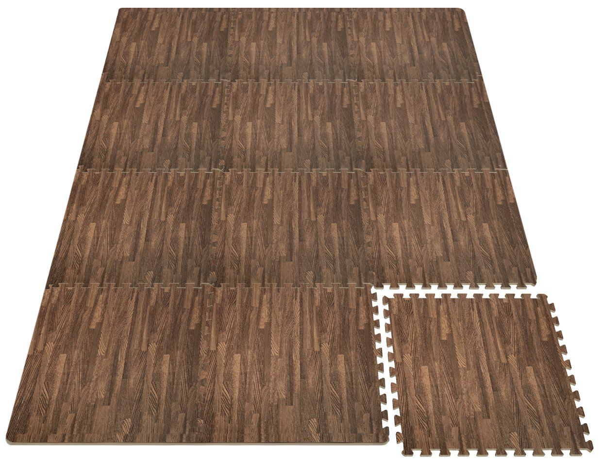 Sorbus Wood Floor Mats Foam Interlocking Wood Mats Each Tile 4 Square Feet 3/8-Inch Thick Puzzle Wood Tiles with Borders – for Home Office Playroom Basement (12 Tiles 48 Sq ft, Wood Grain - Dark) by Sorbus (Image #6)