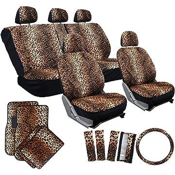 mini OxGord 17pc Cheetah Seat Cover Carpet Floor Mat Set for Car