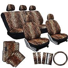 OxGord 17pc Cheetah Seat Cover Carpet Floor Mat Set for Car