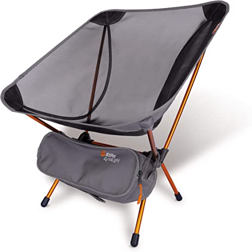 P J Trading EyrieLight Outdoor Chair Compact and Lightweight for Backpacking, Camping, Hiking, Beach, Festivals, Tailgating, Kids Sports, Backpacking. Grey mesh with Orange Legs. 1.89lbs