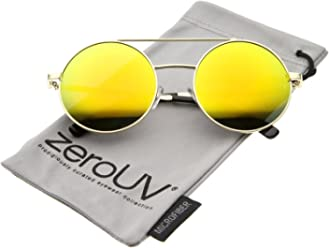 8d2b7c5a752 Lennon Full Metal Double Bridge iridescent Mirrored Lens Round Sunglasses