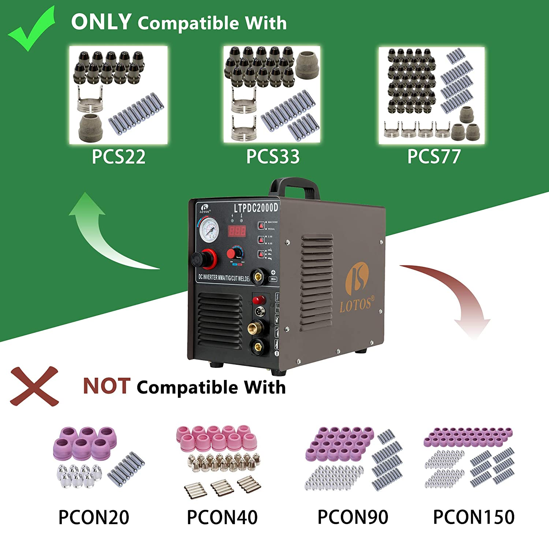 Lotos LTPDC2000D Plasma cortador soldador TIG Stick 3 en 1 ...