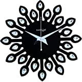Random Clocks Jewel Leaf Round Wood Wall Clock (30 cm x 30 cm x 5 cm, Black, RC-0709 Black)