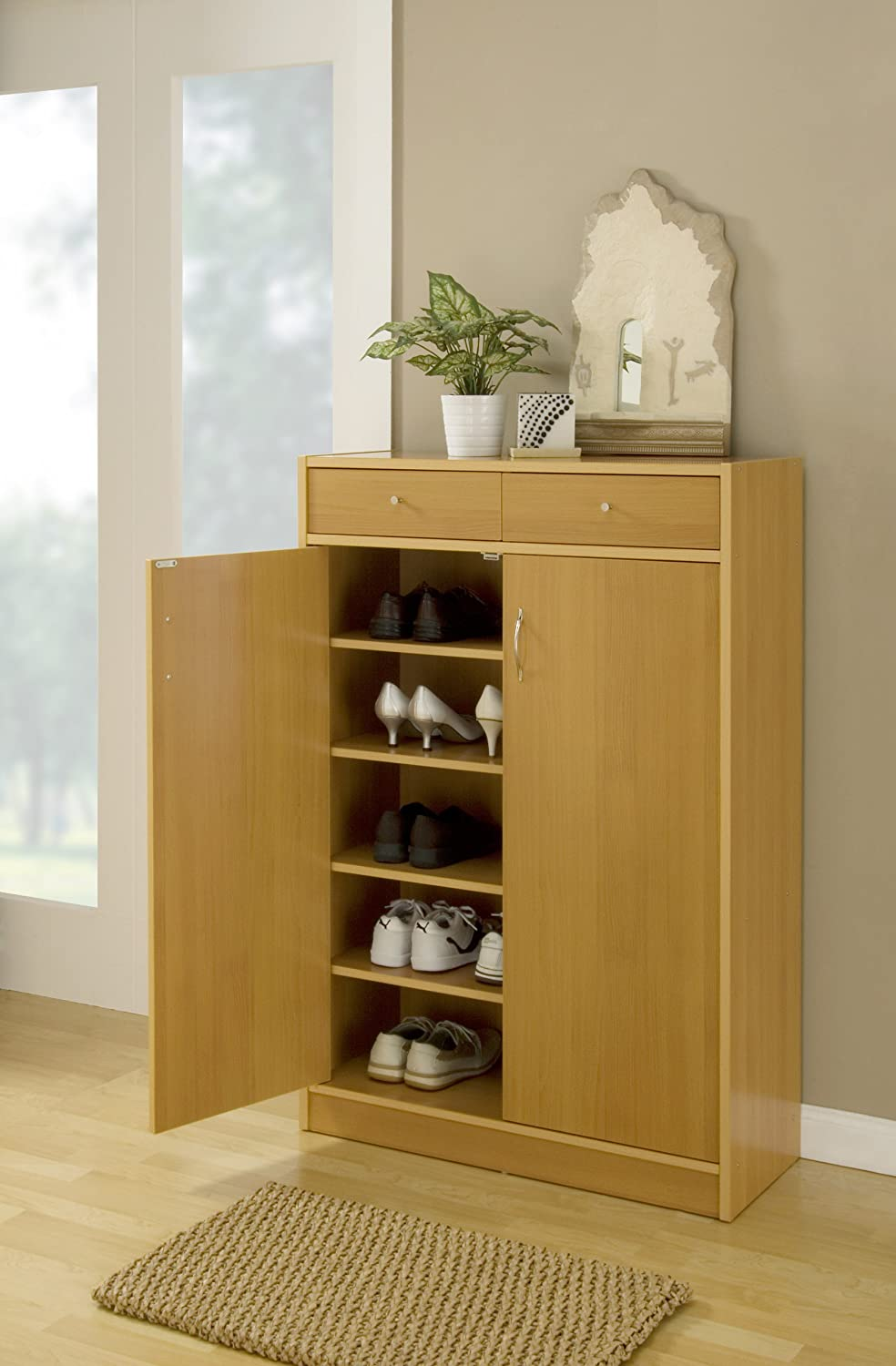 Amazon.com: IoHOMES 5 Shelf Axis Shoes Cabinet With 2 Drawer,Beech: Kitchen  U0026 Dining
