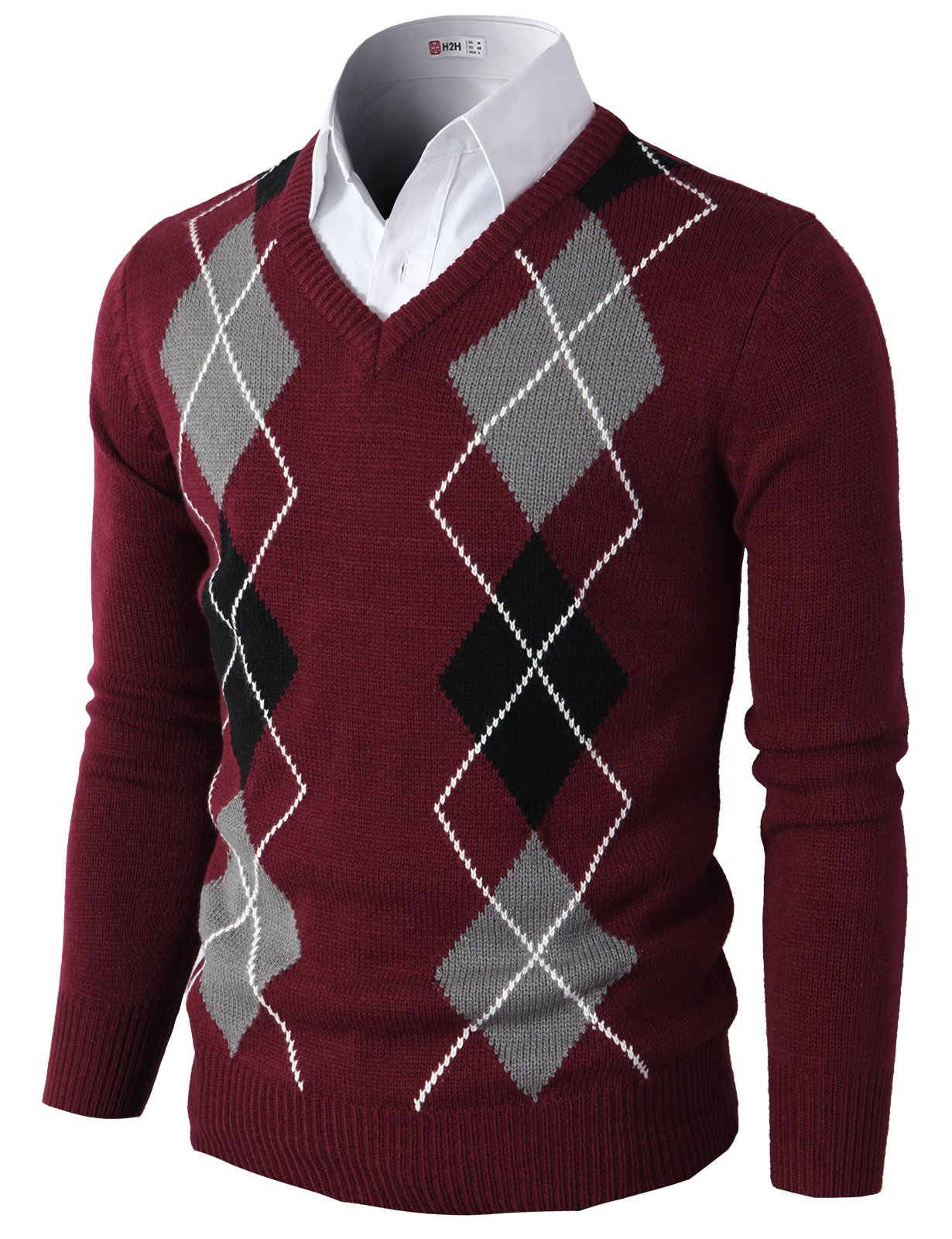 H2H Mens Casual Slim Fit Pullover Argyle Pattern Long Sleeve Sweater Wine US L/Asia XL (CMOSWL013)