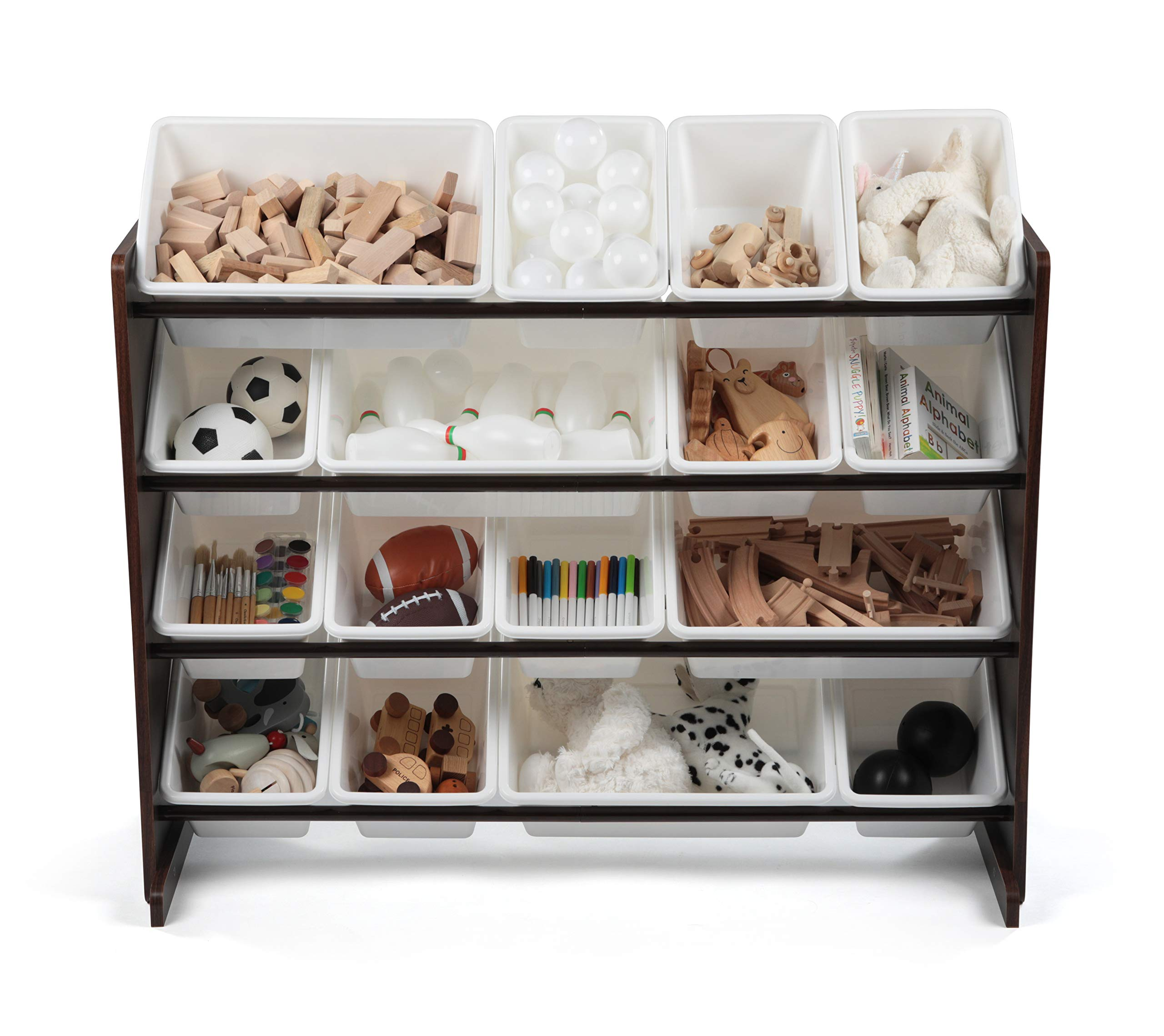 Tot Tutors WO142 Extra-Large, Supersized Toy Storage Organizer White Bins, Espresso Collection