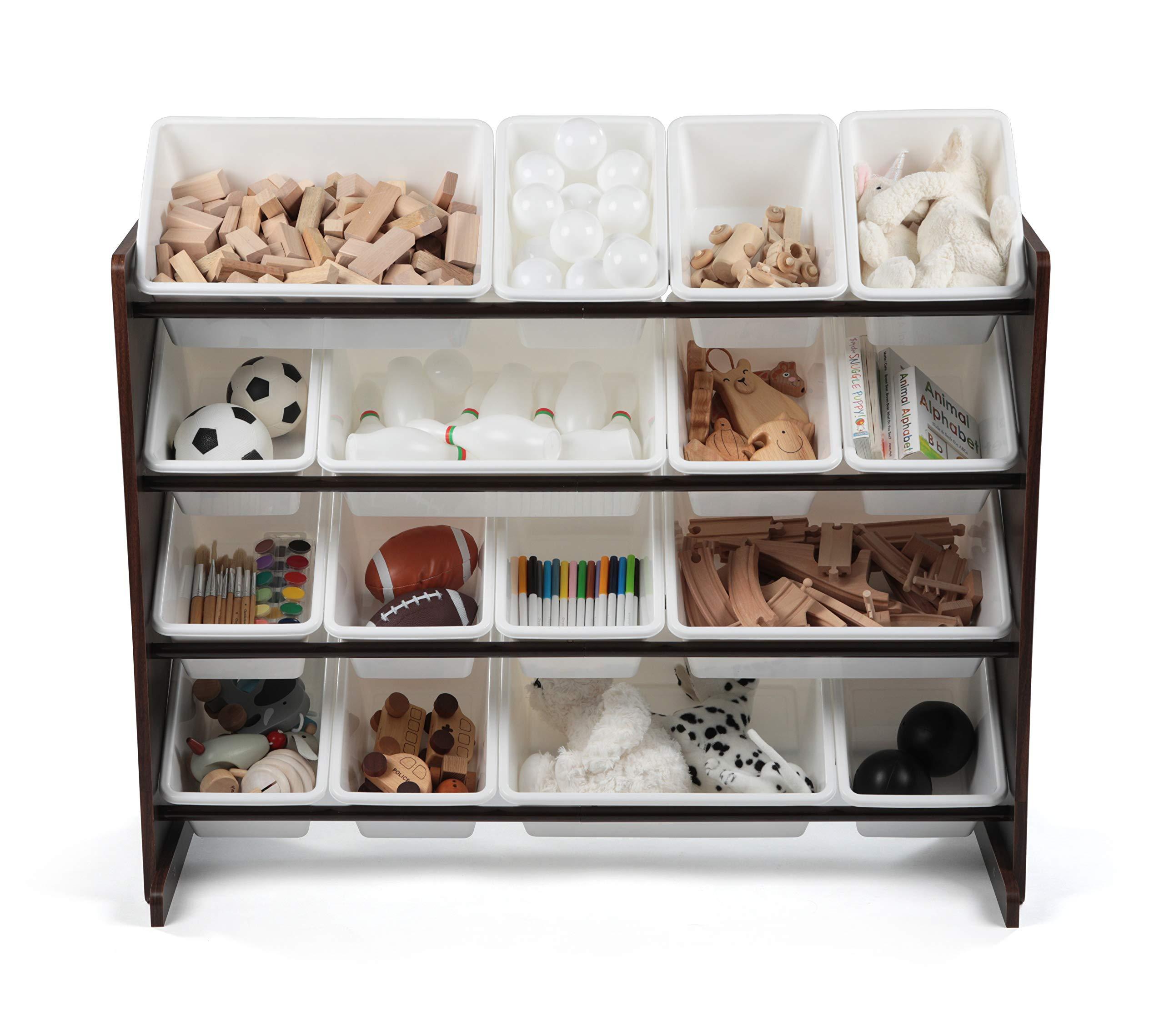 Tot Tutors WO142 Extra-Large, Supersized Toy Storage Organizer White Bins, Espresso Collection