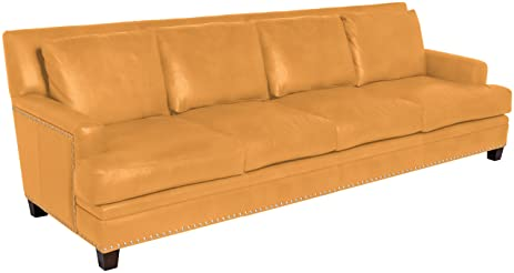 Omnia Leather Glendora 4 Cushion Sofa In Leather, With Nail Head, Navajo  Palomino