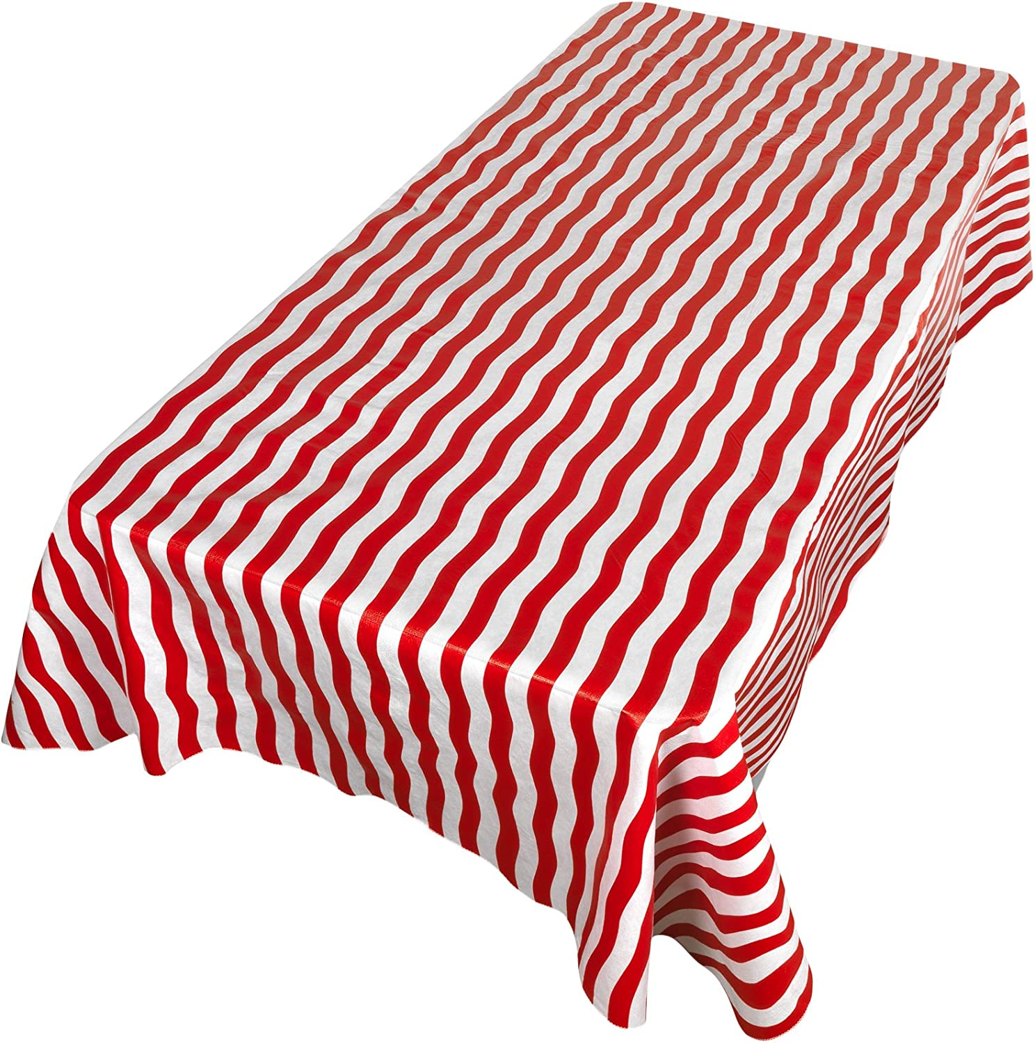 Carnation Home Fashions DFLN-52//BS//14 Bold Stripe Vinyl Flannel Backed Tablecloth Red 52 x 52