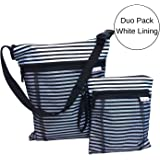 Waterproof Wet and Dry Bag Duo Pack - Best for Cloth Diapering, Swimming, Potty Training - With Waterproof Seams, 2 Pockets and Handy Straps - Medium and Large (white PUL liner)