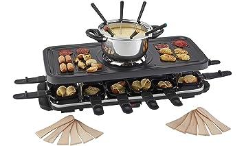 Cooks Professional Juego Tradicional de Fondue de Parrilla Raclette, Parte Superior Antiadherente para una Cocina más Saludable con 12 espátulas de ...