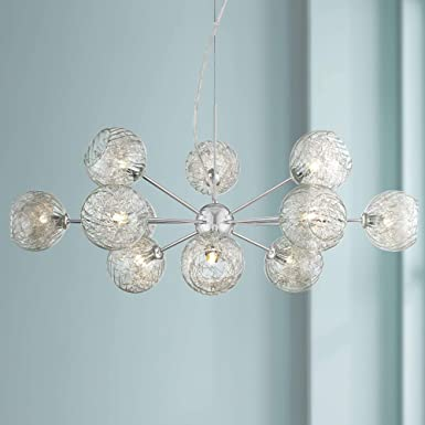 Wired Nickel Sputnik Chandelier Modern Blown Seedy Glass 32 Fixture for Dining Room – Possini Euro Design