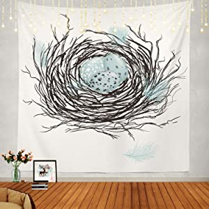 Shrahala Bird Tapestry, Birds Nest with Robins Eggs Wall Hanging Large Tapestry Psychedelic Tapestry Decorations Bedroom Living Room Dorm(59.1 x 59.1 Inches, Blue 3)