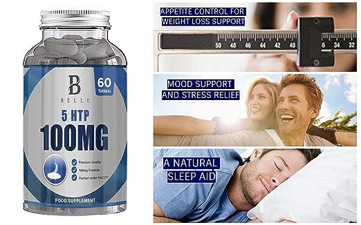 Suplemento de 100 mg de Belle® 5-HTP -Ayuda a aumentar los niveles de melatonina y serotonina - Ayuda a la supresión del apetito, ayuda natural para dormir- ...