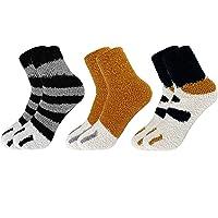 CheChury Calcetines de 5 Pares de Pantuflas para Mujeres Calcetines para Dormir Suaves Gato Cartoon Gruesos Calcetines…