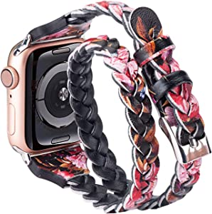 Moolia Double Leather Band Compatible with Apple Watch 42mm 44mm, Women Girls Woven Slim Leather Watch Strap Double Tour Bracelet Replacement for iWatch SE Series 6 5 4 3 2 1 (Black Pink, 42mm/44mm)