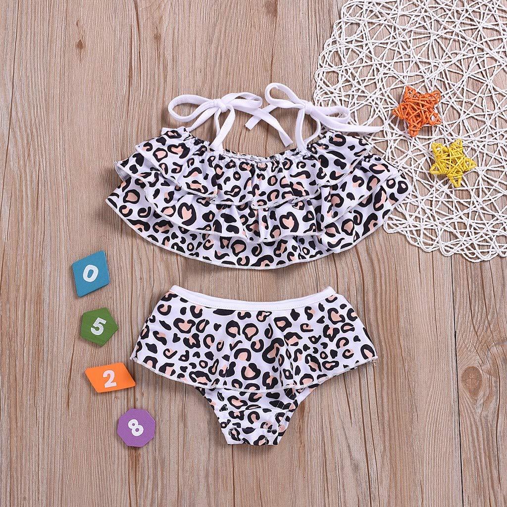 Shorts Set da Bagno Toamen 2Pc Bambini Ragazze Bikini Stampa Leopardo Estate Nuovo Stile Balze Beach Suspender Costume da Bagno Gilet