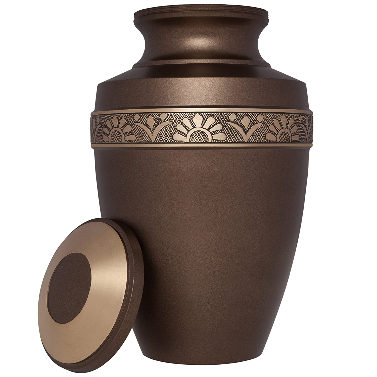 Brown Funeral Urn by Liliane Memorials – Cremation Urn for Human Ashes – Hand Made in Brass -Suitable for Cemetery Burial or Niche- Large Size fits remains of Adults up to 200 lbs- D Anvers Brun Model