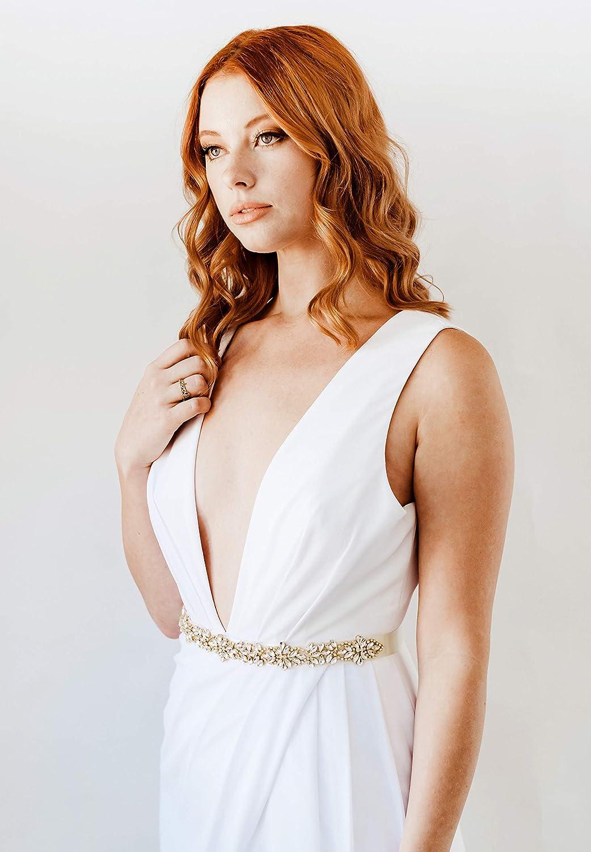 SWEETV Strass Cristal Nuptiale Ruban Ceinture de Mariage Accessoire Pour Robe de Mariée Accessoire Embellissements 220 * 2cm Or
