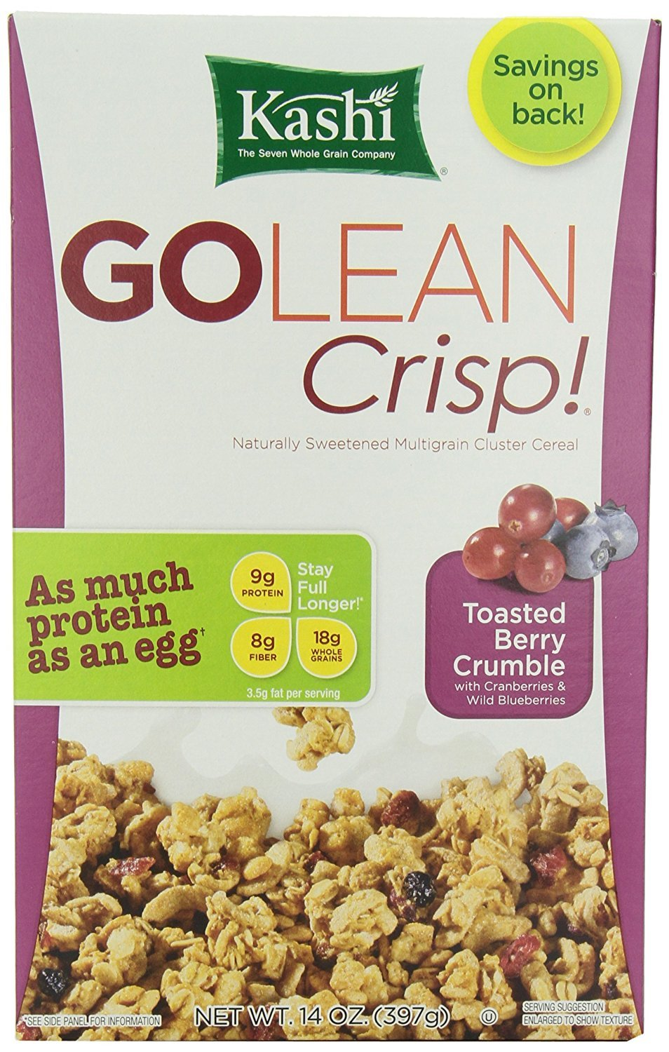 Kashi GO Toasted Berry Crisp Cereal - Vegan, Non-GMO Project Verified, 14 Oz Box (Pack of 12 Boxes)