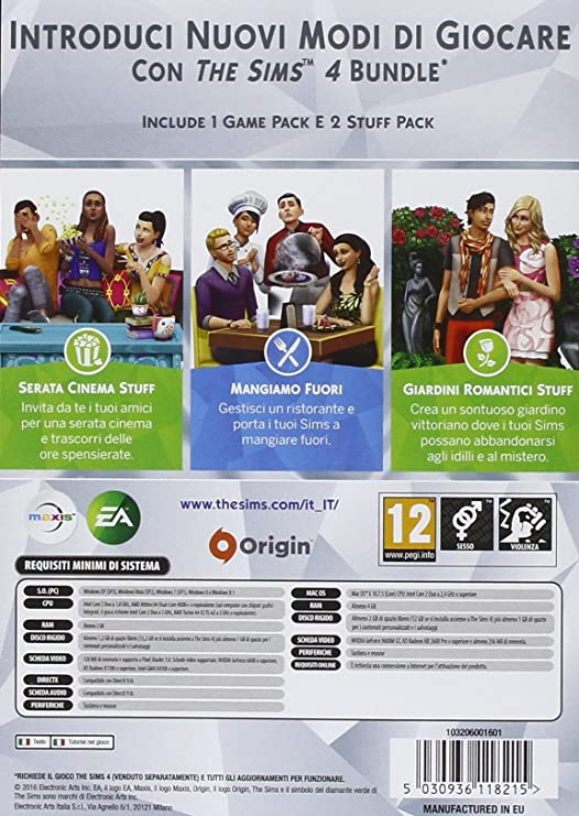 The Sims 4 Game & Stuff Pack 3: Mangiamo Fuori, Serata Cinema, Giardini Romantici [Importación Italiana]: Amazon.es: Videojuegos