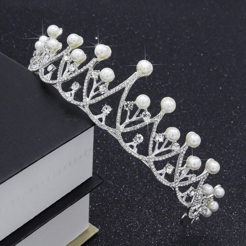 Wedding Crown, Bridal Wedding/Prom Hair Pins/Headdress Accessories/Party/Girls Pearl Diamond Bride Crown Hair Ornament Wedding Bride Accessories Wedding Dress Accessories by Junson (Image #4)