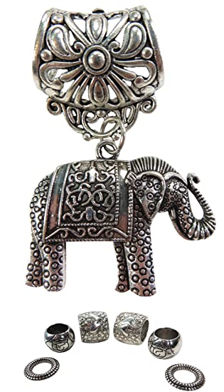 4d0a205fbf05f lucky elephant pendant slide tube scarf rings DIY necklace scarf at ...